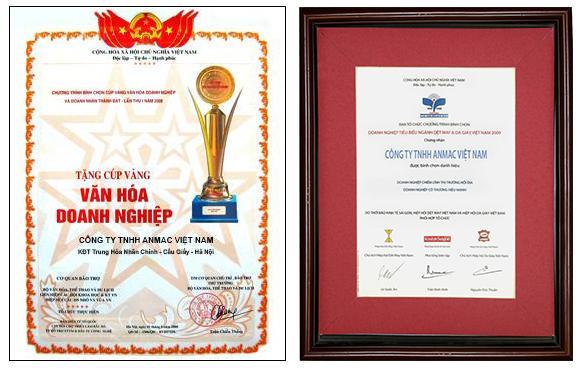 Các giải thưởng đạt được của Anmac Việt Nam
