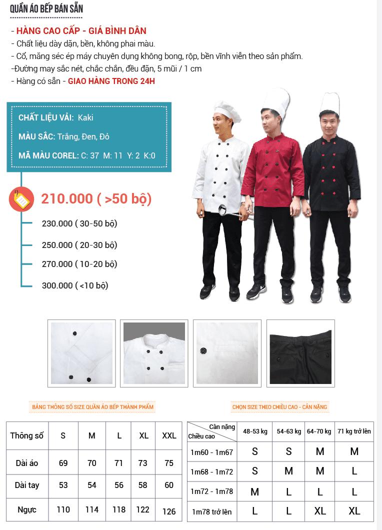 bảng giá đồng phục bếp bán sẵn